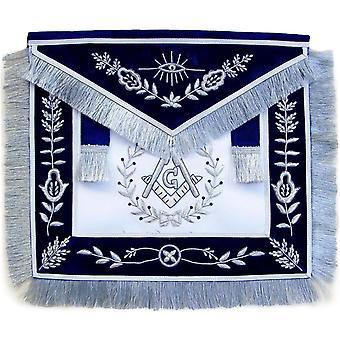 Masonic master mason apron silver bullion hand embroidered vine work