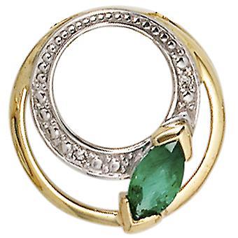 Women's pendant round 585 gold yellow gold 2 diamonds 0.01ct. 1 emerald green gold pendant