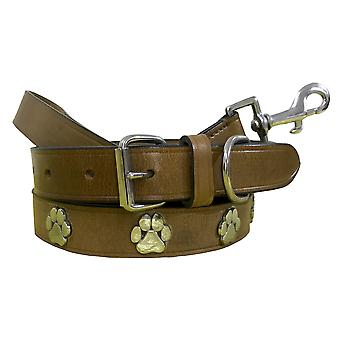 Bradley crompton genuine leather matching pair dog collar and lead set bcdc8khakibrown