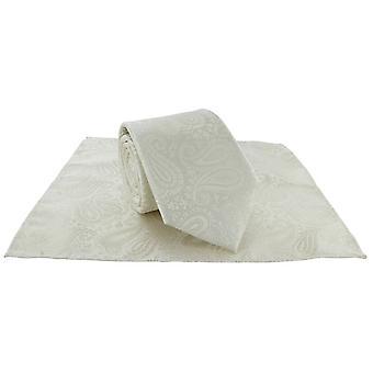 Michelsons Londra Tonal Polyester Paisley Pocket Square ve Kravat Seti - Krem