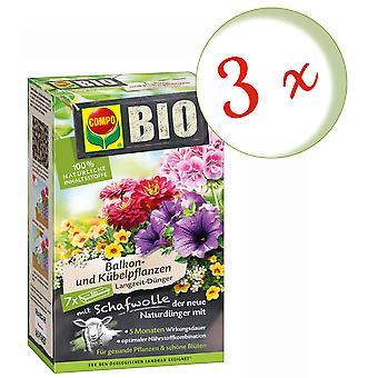 Sparset: 3 x COMPO BIO Balkon- und Kübelpflanzen Langzeit-Dünger mit Schafwolle, 750 g