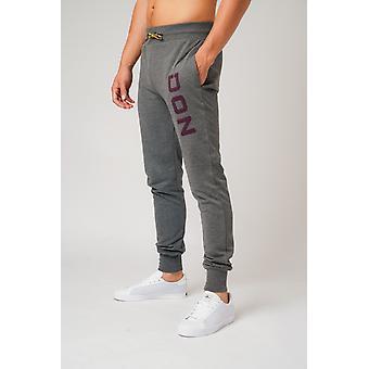 Don applique grey marl and dark purple joggers