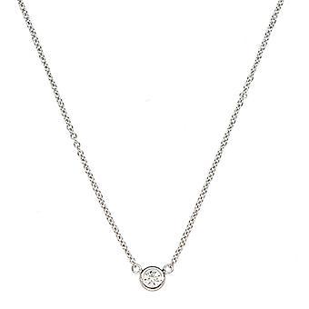 18k White Gold 1 Bezel Diamond Solitaire Lobster Claw Clasp Ketting .10 Dwt Sieraden Geschenken voor vrouwen - Lengte: 16 tot 18