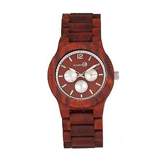 Earth Wood Bonsai Bracelet Watch w/Day/Date - Red
