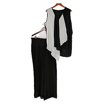 Masseys Plus Set Asymmetrische ärmellose Top & Hose weiß / schwarz