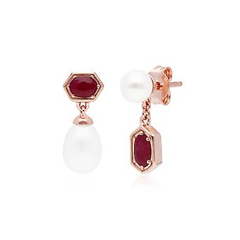 Modern Pearl & Ruby Mismatched Drop Earrings in Rose Gold Plated Sterling Silver 270E030402925