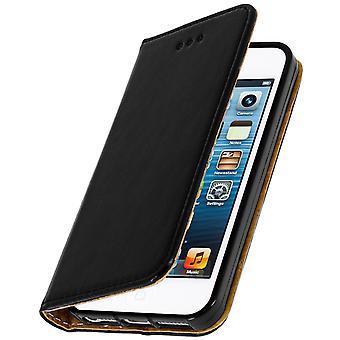 Flip wallet, lederen draagtas voor Apple iPhone 5, 5S, SE, standcase - zwart