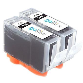 2 mustaa mustekasettia Canon SGI-5Bk -yhteensopivan/ei-OEM-laitevalmistajan korvaamiseksi Go Inksistä