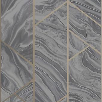 Mármol Geométrico Brillo Fondo de Pantalla Carbón Rasch 310955