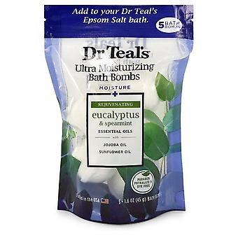 Dr Teal's Ultra Hydraterende Bad Bombs Five (5) 1.6 oz Moisture Rejuvinating Bath Bombs with Eucalyptus & Spearmint, Essential Oils, Jojoba Oil, Sunflower Oil (Unisex) By Dr Teal's 1.6 Oz Five oz Five oz
