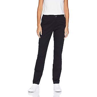Essentials Women's Straight-Fit Stretch Twill, Black, Size 0 Regular