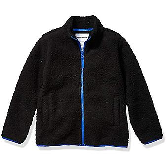 Essentials Boy's Polar Fleece Lined Sherpa Full-Zip Jacket, Black, X-S...