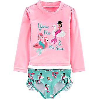 Simple Joys by Carter's Girls' 2-Piece Rashguard Set, Pink Mermaid, 24 Months