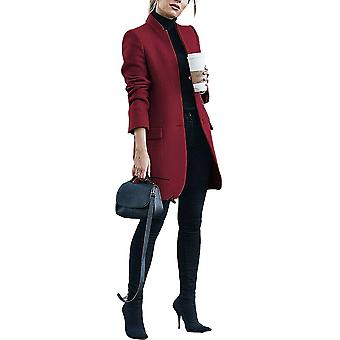 Womens Casual Lightweight Collarless Full Length Long Winter Coat