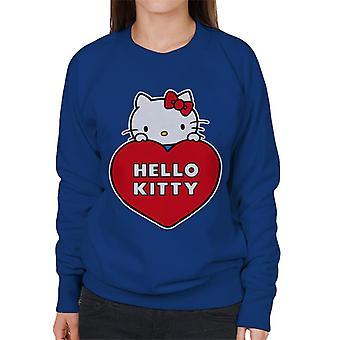 Hello Kitty Peeking Above Love Heart Women's Sweatshirt