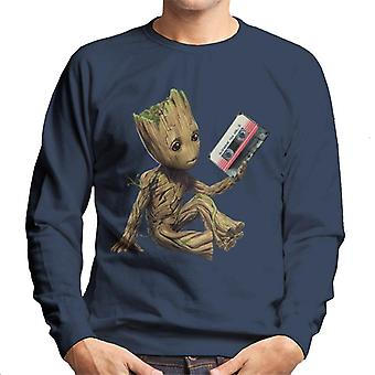 Marvel Guardians Of The Galaxy Vol 2 Groot Holding Awesome Mix Men's Sweatshirt