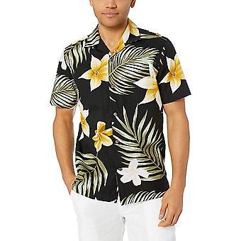 28 Palms Men's Standard-Fit 100% Cotton Tropical Hawaiian Shirt, Oversize Bla...