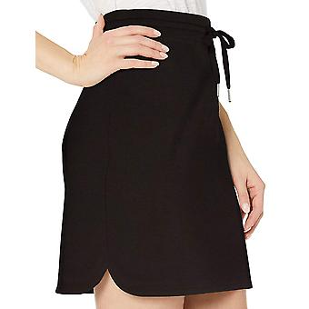 Daily Ritual Women's Terry Cotton and Modal Sweatshirt Skirt, Black, Medium