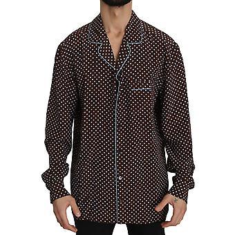 Dolce & Gabbana Brown Blue Polka Dot Silk Shirt