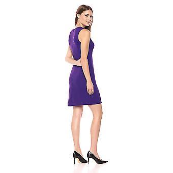 Lark & Ro Frauen's Ärmellose Rundhals Mantel Kleid mit Naht, violett, 12