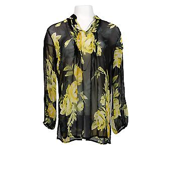 Susan Graver Women's Top Printed Sheer Chiffon Tunic Black A369692