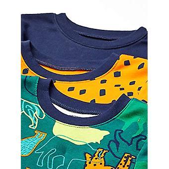 Brand - Spotted Zebra Kid's 6-Piece Snug-Fit Cotton Pajama Set, Wild Adventure, Small (6-7)