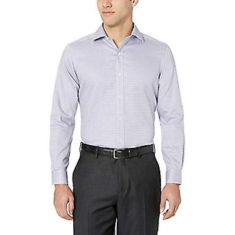 "BUTTONED DOWN Men's Tailored Fit Spread-Collar Pattern Non-Iron Dress Shirt, Purple/Blue Micro Check, 16.5"" Neck 35"" Sleeve"
