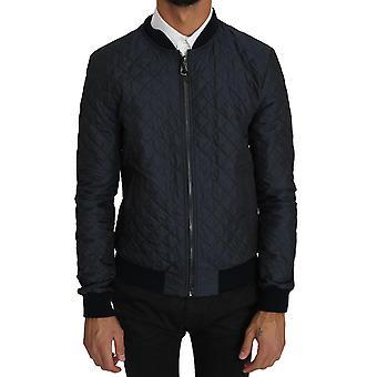 Dolce & Gabbana Blue Quilted Logo Fashion Bomber Jacket JKT2272-48