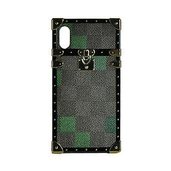 Caz de telefon Eye-Trunk Checkered Square Pentru iPhone XS (Verde)