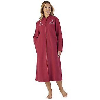 Slenderella HC2327 Women's Boucle Fleece Floral Robe Loungewear Bath Dressing Gown