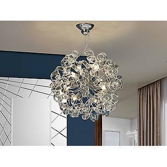 8 Light Crystal Ribbon Ceiling Pendant Chrome, G9