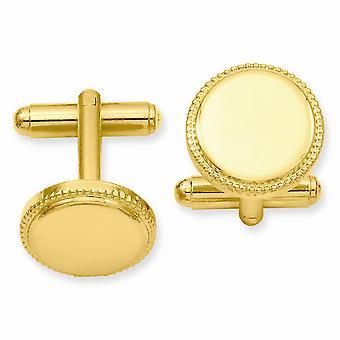 14k Guldpläterad solid graverbar (endast fram) Polerad pärl rund manschett länkar smycken gåvor för män