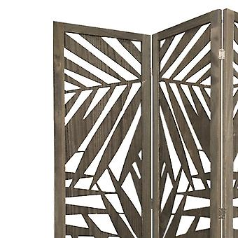3 Panel Grey Room Divider with Tropical leaf