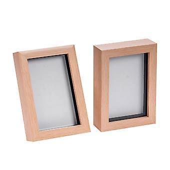 Nicola Primavera Luz Efecto madera 4x6 Caja Marco de fotos - De pie y colgante - Paquete de 2