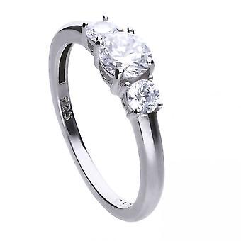 Diamonfire plata blanco Zirconia solitario anillo R3624