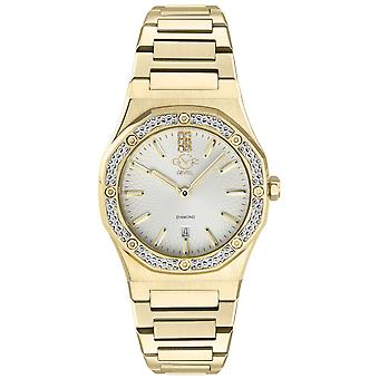 Gv2 Tekijä Gevril Women's 12702 Palmanova Diamond Gold IP Steel Date Swiss Watch