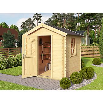 Wooden Shed Lyon 2x2x2.34 m, 28 mm, Natural