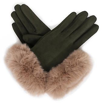 Powder Bettina Faux Suede Gloves | Sage/Stone