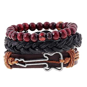 Vintage Buddha Beads Bracelet Guitar Charm Multilayer Cow Leather Bracelet