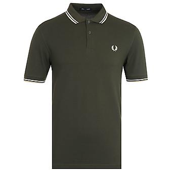 Fred Perry M3600 Twin Tipped Polo Shirt - Hunting Green & Snow