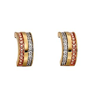Fiorelli Silver Womens 925 Sterling Silver, Yellow & Rose Gold Placage Cub Zirconia Barrel Half Hoop Boucles d'oreilles