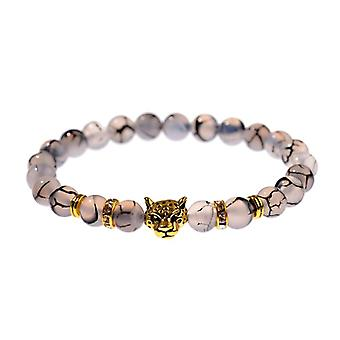 Verwering Stone Leopard Head Beaded Armband