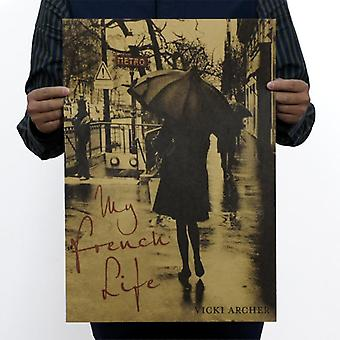 My France Life Vintage Kraft Paper Movie Poster Home / School Office Wall Decor