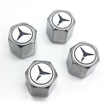 Mercedes Set of 4 Chrome Anti-Theft Car Tyre Air Dust Valve Stem Cap