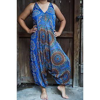Kék Mandala Boho Hippie Kezeslábas Rompers
