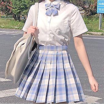 Japonská škola vysoký pas a-line kostkovaná sukně sexy jk uniformy