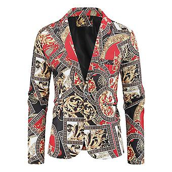 Men's Fashion Suit Party Coat, Casual Slim Fit, Buttons Suit 3d Floral Print,