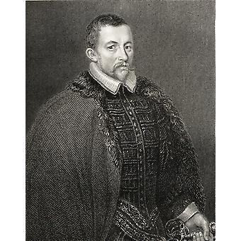 Sir Thomas Bodley 1545-1612 englische Handschrift CollectorRestorer der Bodleian Bibliothek von den Buch LodgeS britische Porträts veröffentlicht London 1823 PosterPrint