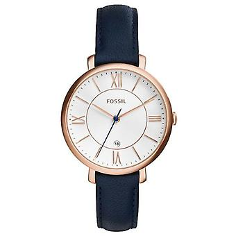 Fossil Jacqueline Silver Dial Navy Blue Leather Es3843 Women's Watch