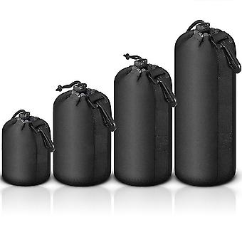 Mekingstudio 4 pcs camera lens pouch bag case drawstring protective protector soft neoprene black fo